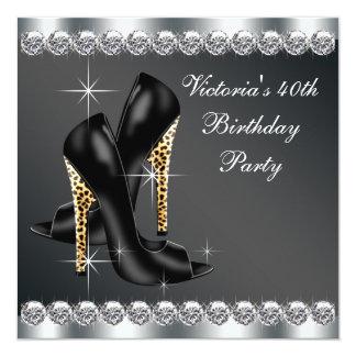 Fiesta del cumpleaños negra elegante de la mujer anuncio