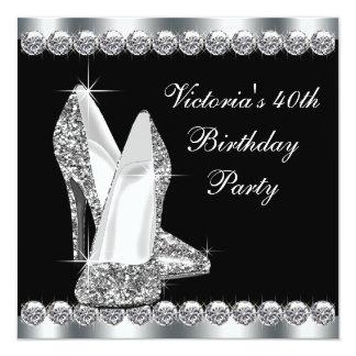 Fiesta del cumpleaños negra elegante de la mujer comunicados personales