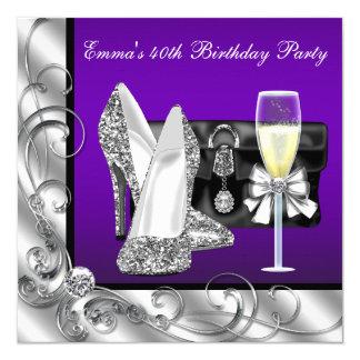 """Fiesta del cumpleaños púrpura de la mujer invitación 5.25"""" x 5.25"""""""