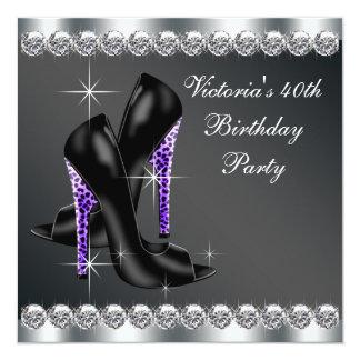 Fiesta del cumpleaños púrpura elegante de la mujer invitacion personal