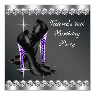 Fiesta del cumpleaños púrpura elegante de la mujer invitación 13,3 cm x 13,3cm