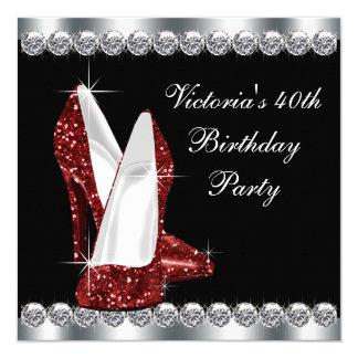 Fiesta del cumpleaños roja de rubíes de la mujer invitación 13,3 cm x 13,3cm