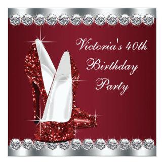 """Fiesta del cumpleaños roja de rubíes elegante de invitación 5.25"""" x 5.25"""""""