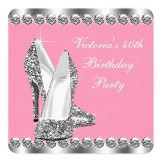 Fiesta del cumpleaños rosada de la mujer invitación 13,3 cm x 13,3cm