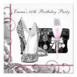 Fiesta del cumpleaños rosada de la mujer comunicado personalizado