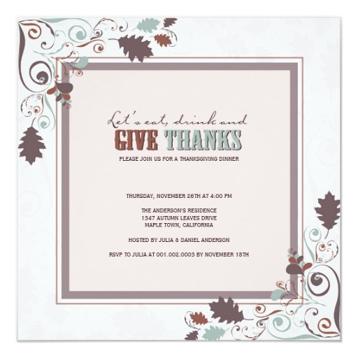 """Fiesta del Día de Acción de Gracias de los Invitación 5.25"""" X 5.25"""""""