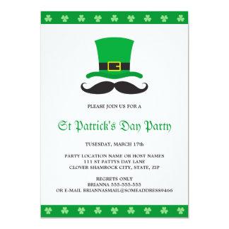 """Fiesta del día de St Patrick del bigote del gorra Invitación 5"""" X 7"""""""