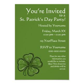 """Fiesta del día de St Patrick del trébol Invitación 5"""" X 7"""""""