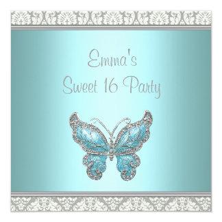 Fiesta del dulce 16 del damasco de la mariposa del invitación personalizada