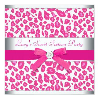"""Fiesta del dulce 16 del leopardo del rosa del arco invitación 5.25"""" x 5.25"""""""
