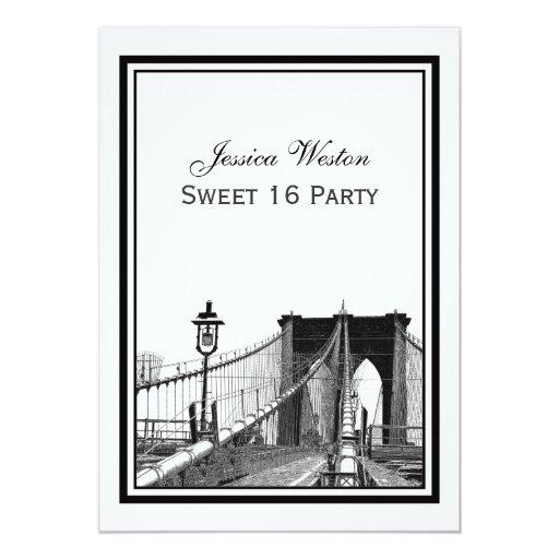 """Fiesta del dulce 16 del puente de Brooklyn del Invitación 5"""" X 7"""""""