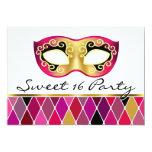 Fiesta del dulce dieciséis de la mascarada del invitación 12,7 x 17,8 cm