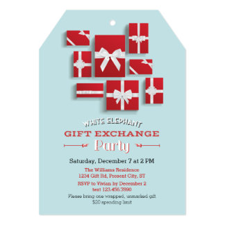 Fiesta del elefante blanco de los regalos de invitación 12,7 x 17,8 cm