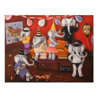 Fiesta del elefante blanco tarjeta postal