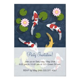 """Fiesta del estanque de peces de Koi del japonés Invitación 5"""" X 7"""""""