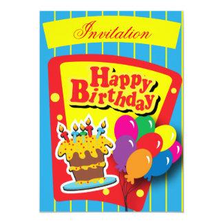 """Fiesta del feliz cumpleaños de la diversión invitación 5"""" x 7"""""""
