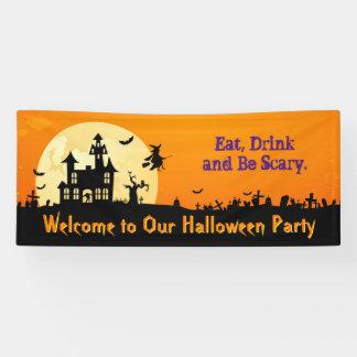 Fiesta del feliz Halloween - coma, bebida y sea Lona
