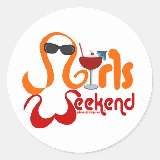 Fiesta del fin de semana de los chicas etiquetas redondas