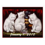 ¡Fiesta del gatito! El día de Año Nuevo - postal
