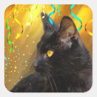 Fiesta del gato negro calcomanía cuadradas personalizadas
