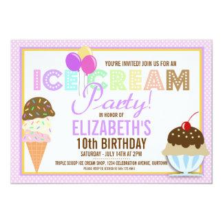 """Fiesta del helado invitación 5"""" x 7"""""""
