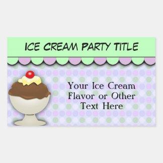 Fiesta del helado, Shoppe dulce en colores pastel Rectangular Pegatina