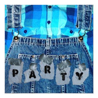 """¡Fiesta del Hillbilly! Guardapolvos tela escocesa Invitación 5.25"""" X 5.25"""""""