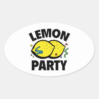 Fiesta del limón pegatina ovalada
