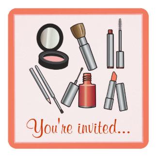 """Fiesta del maquillaje invitación 5.25"""" x 5.25"""""""