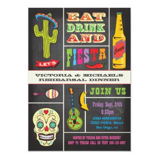 """Fiesta del mexicano de la cena del ensayo de la invitación 5"""" x 7"""""""