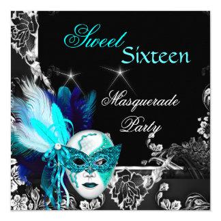 Fiesta del negro azul del trullo de la máscara del invitación 13,3 cm x 13,3cm