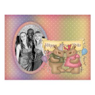 Fiesta del oso - plantilla de la Feliz Año Nuevo Tarjetas Postales