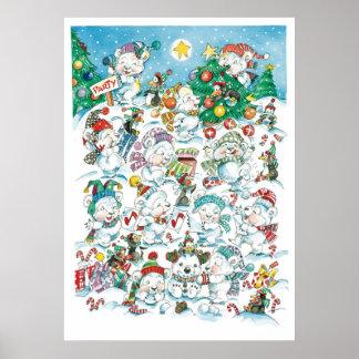 Fiesta del oso polar del navidad del dibujo poster