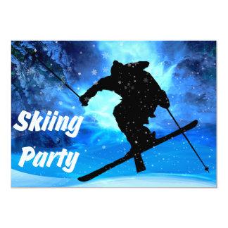 """Fiesta del paisaje del invierno y del esquiador invitación 5"""" x 7"""""""