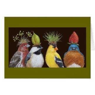 Fiesta del pájaro con la tarjeta gruñona del blueb