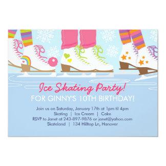 Fiesta del patinaje de hielo para los chicas invitación 12,7 x 17,8 cm