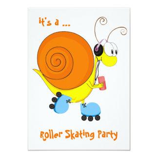 """Fiesta del patinaje sobre ruedas del caracol del invitación 5"""" x 7"""""""