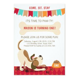 Fiesta del perrito de la Pata-ty de la invitación
