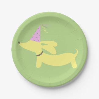 Fiesta del perro de la salchicha de Frankfurt del Plato De Papel De 7 Pulgadas