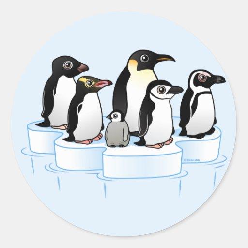 Fiesta del pingüino pegatina redonda