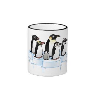 Fiesta del pingüino taza de dos colores