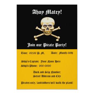 """Fiesta del pirata de los huesos del amd del cráneo invitación 5"""" x 7"""""""