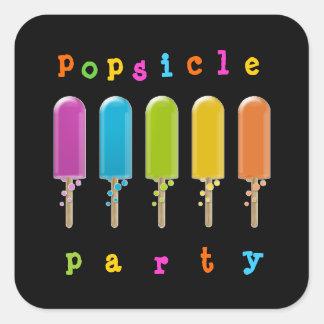 fiesta del popsicle pegatina cuadrada