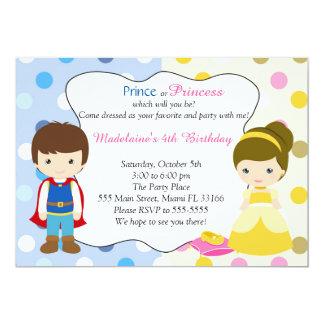 """Fiesta del príncipe princesa Invitation Kids Invitación 5"""" X 7"""""""