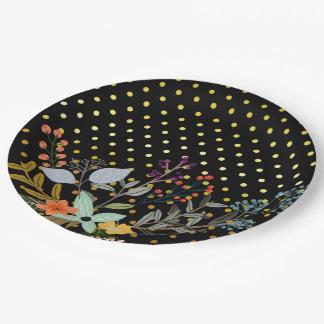 Fiesta del ramo floral * elija el color de fondo platos de papel