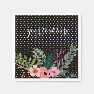 Fiesta del ramo floral * elija el color de fondo servilleta de papel