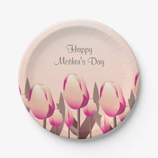 Fiesta del rosa de los tulipanes de la primavera platos de papel