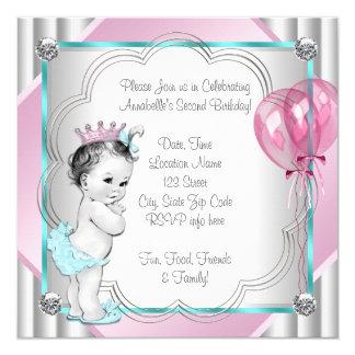 """Fiesta del rosa y de la princesa azul 2da invitación 5.25"""" x 5.25"""""""