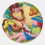 Fiesta del safari del tintineo del chica pegatina redonda