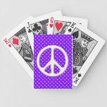 Fiesta del signo de la paz en púrpura cartas de juego